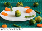 Купить «Vegetarian vegetables: broccoli, Brussels sprouts, carrots and green beans on a white plate and green background. Selective focus», фото № 26096027, снято 15 декабря 2018 г. (c) Владимир Пойлов / Фотобанк Лори
