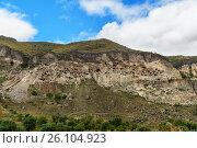 Купить «View of Vardzia cave monastery. Georgia», фото № 26104923, снято 29 сентября 2016 г. (c) Elena Odareeva / Фотобанк Лори