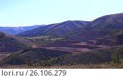 Купить «Panorama shooting. Quarry mining red marble», видеоролик № 26106279, снято 19 сентября 2016 г. (c) Gennadiy Iotkovskiy / Фотобанк Лори