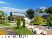View of Rike Park with Concert Music Theatre Exhibition Hall in Tibilisi, Georgia (2016 год). Редакционное фото, фотограф Elena Odareeva / Фотобанк Лори