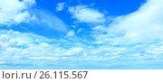 Купить «Blue sky background with clouds», фото № 26115567, снято 22 сентября 2018 г. (c) Юрий Брыкайло / Фотобанк Лори
