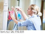 Купить «Cleaning service. hotel staff clean mirror», фото № 26116031, снято 2 августа 2016 г. (c) Дмитрий Калиновский / Фотобанк Лори