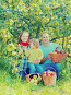 Happy family with apple harvest, фото № 26119099, снято 12 сентября 2012 г. (c) Яков Филимонов / Фотобанк Лори
