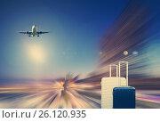 Купить «Traveler suitcases and airplane», фото № 26120935, снято 18 марта 2013 г. (c) Яков Филимонов / Фотобанк Лори