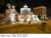 Купить «Night view of the Munich, Bavaria, Germany», фото № 26121327, снято 7 июня 2016 г. (c) Юрий Дмитриенко / Фотобанк Лори