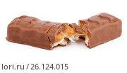 Chocolate bar isolated on white. Стоковое фото, фотограф Роман Самохин / Фотобанк Лори