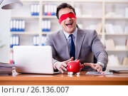 Купить «Blindfold businessman sitting at desk in office», фото № 26136007, снято 2 февраля 2017 г. (c) Elnur / Фотобанк Лори