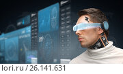 Купить «man in virtual reality glasses and microchip», фото № 26141631, снято 17 ноября 2012 г. (c) Syda Productions / Фотобанк Лори