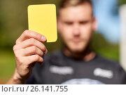 Купить «referee on football field showing yellow card», фото № 26141755, снято 18 сентября 2016 г. (c) Syda Productions / Фотобанк Лори