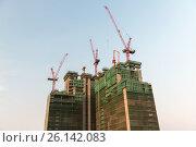Купить «building and construction cranes», фото № 26142083, снято 6 февраля 2015 г. (c) Syda Productions / Фотобанк Лори