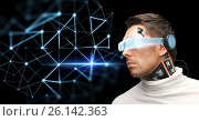Купить «man in virtual reality glasses and microchip», фото № 26142363, снято 17 ноября 2012 г. (c) Syda Productions / Фотобанк Лори