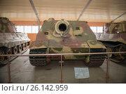 Купить «Штурмовая мортира Sturmtiger («Штурмтигр») (380 мм), вооруженные силы нацистской Германии, в Центральном музее бронетанкового вооружения и техники, Кубинка», фото № 26142959, снято 1 сентября 2015 г. (c) Pukhov K / Фотобанк Лори