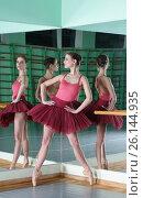 Beautiful dancer ballerina with reflection. Стоковое фото, фотограф Tatjana Romanova / Фотобанк Лори