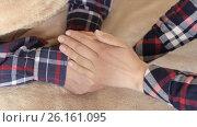 Купить «The girl tenderly embraced the man's hands», видеоролик № 26161095, снято 4 мая 2017 г. (c) Олег Башкир / Фотобанк Лори
