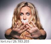 Купить «Девушка с заклеенным ртом», фото № 26183203, снято 26 июля 2015 г. (c) Гладских Татьяна / Фотобанк Лори