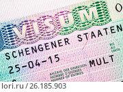 Купить «Schengen visa for multiple crossing the border», фото № 26185903, снято 28 апреля 2017 г. (c) Дмитрий Калиновский / Фотобанк Лори