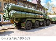 Купить «Зенитно-ракетный комплекс С-300 на улице в Самаре», фото № 26190659, снято 7 мая 2017 г. (c) FotograFF / Фотобанк Лори