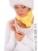 Купить «Sick girl holding thermometer», фото № 26208111, снято 20 июля 2012 г. (c) Tatjana Romanova / Фотобанк Лори