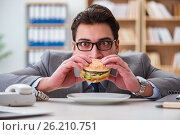 Купить «The hungry funny businessman eating junk food sandwich», фото № 26210751, снято 30 января 2017 г. (c) Elnur / Фотобанк Лори