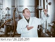 Купить «Wine maker controls quality of wine», фото № 26220291, снято 12 октября 2016 г. (c) Яков Филимонов / Фотобанк Лори