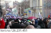 26 февраля 2017 года - марш памяти Бориса Немцова в Москве. Редакционное видео, видеограф Nadya S. / Фотобанк Лори