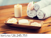 Купить «close up of soap, himalayan salt and scrub in bowl», фото № 26245751, снято 21 декабря 2015 г. (c) Syda Productions / Фотобанк Лори