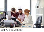 Купить «business team with tablet pc in office», фото № 26246051, снято 1 октября 2016 г. (c) Syda Productions / Фотобанк Лори