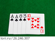 Купить «poker hand of playing cards on green casino cloth», фото № 26246307, снято 15 марта 2017 г. (c) Syda Productions / Фотобанк Лори