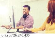 Купить «creative team with headphones and computer», фото № 26246435, снято 27 февраля 2016 г. (c) Syda Productions / Фотобанк Лори