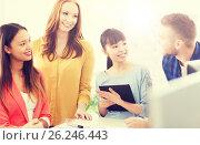 Купить «happy creative team or students working at office», фото № 26246443, снято 27 февраля 2016 г. (c) Syda Productions / Фотобанк Лори