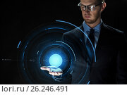 Купить «close up of businessman with virtual projection», фото № 26246491, снято 6 сентября 2016 г. (c) Syda Productions / Фотобанк Лори
