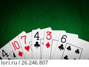 Купить «poker hand of playing cards on green casino cloth», фото № 26246807, снято 15 марта 2017 г. (c) Syda Productions / Фотобанк Лори