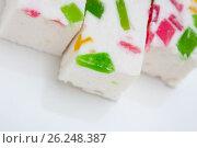 Купить «Paste with fruit pieces. delicacy», фото № 26248387, снято 20 октября 2016 г. (c) Astroid / Фотобанк Лори