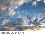 Купить «Sunset sky panorama background», фото № 26248475, снято 22 сентября 2018 г. (c) Юрий Брыкайло / Фотобанк Лори