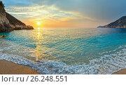 Купить «Sunset Myrtos Beach (Greece, Kefalonia, Ionian Sea).», фото № 26248551, снято 18 февраля 2018 г. (c) Юрий Брыкайло / Фотобанк Лори