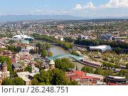 Панорама Тбилиси с высоты. Грузия (2017 год). Редакционное фото, фотограф Сергей Афанасьев / Фотобанк Лори