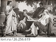 Left to right, Virgil, Horace and Varius at the House of Maecenas,(seated far right). Publius Vergilius Maro, 70 BC-19 BC, aka Virgil or Vergil. Ancient... Редакционное фото, фотограф Classic Vision / age Fotostock / Фотобанк Лори