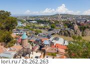 Купить «Панорама Тбилиси с высоты. Грузия», фото № 26262263, снято 1 мая 2017 г. (c) Сергей Афанасьев / Фотобанк Лори