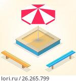 Sandbox with benches in isometric, vector illustration. Стоковая иллюстрация, иллюстратор Купченко Евгений / Фотобанк Лори