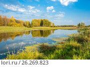 Купить «River autumn landscape», фото № 26269823, снято 24 сентября 2015 г. (c) Валерий Смирнов / Фотобанк Лори