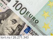 Купить «Background of the money. Euro and Dollar», фото № 26271343, снято 6 мая 2017 г. (c) Валерий Бочкарев / Фотобанк Лори