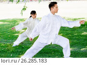 Купить «People practicing thai chi in park», фото № 26285183, снято 19 декабря 2014 г. (c) Sergey Nivens / Фотобанк Лори