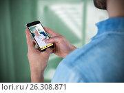 Купить «Composite image of man using mobile phone», фото № 26308871, снято 14 августа 2018 г. (c) Wavebreak Media / Фотобанк Лори