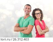Купить «Portrait of smiling business people standing arms crossed against bokeh», фото № 26312403, снято 30 мая 2020 г. (c) Wavebreak Media / Фотобанк Лори