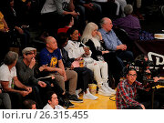 Купить «Celebrities spotted at the Lakers game. The Los Angeles Lakers defeated the Golden State Warriors by the final score of 112-95 at Staples Center Featuring...», фото № 26315455, снято 7 марта 2016 г. (c) age Fotostock / Фотобанк Лори