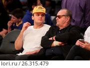 Купить «Celebrities spotted at the Lakers game. The Los Angeles Lakers defeated the Golden State Warriors by the final score of 112-95 at Staples Center Featuring...», фото № 26315479, снято 7 марта 2016 г. (c) age Fotostock / Фотобанк Лори