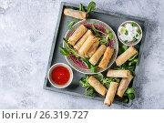 Fried spring rolls with sauce. Стоковое фото, фотограф Natasha Breen / Фотобанк Лори
