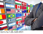 Купить «panel with flags business man hand folded», фото № 26320851, снято 27 марта 2019 г. (c) Wavebreak Media / Фотобанк Лори