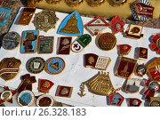 Купить «Moscow, Russia - may 07.2017. Trade badge of times of the USSR», фото № 26328183, снято 6 мая 2017 г. (c) Володина Ольга / Фотобанк Лори