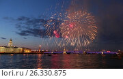 Купить «Firework.Rostral columns,Palace bridge,Peter and Paul fortress. Saint-Petersburg», видеоролик № 26330875, снято 9 мая 2016 г. (c) Ирина Мойсеева / Фотобанк Лори